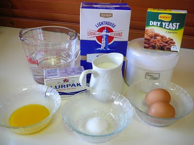 ingredients to make butter croissants.