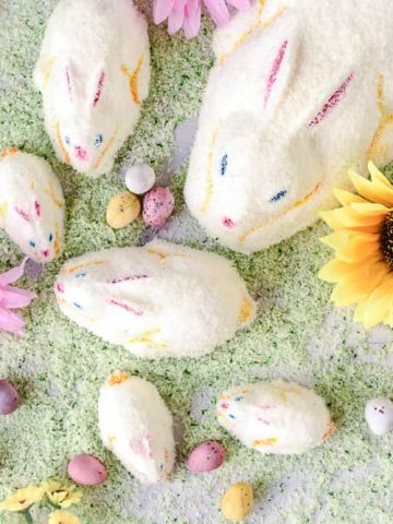 Marshmallow Easter bunnies on green coconut grass