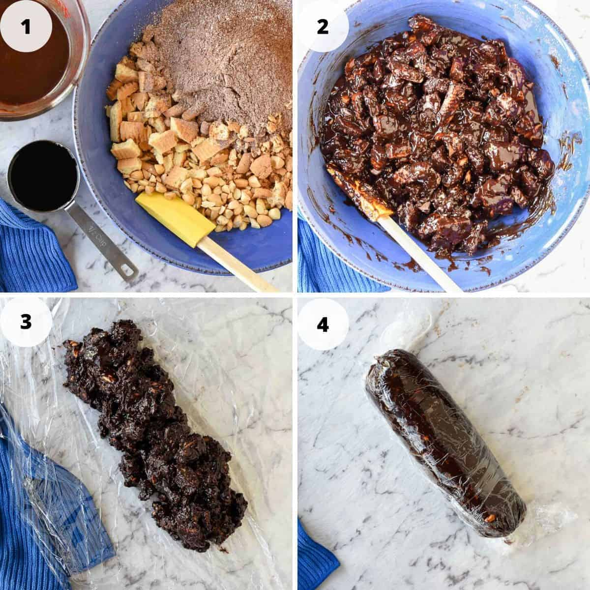 4 images of preparation of chocolate salami image 1 ingredients in a blue bowl, image 2 chocolate lumpy mixture image 3 oblong shape of lumpy chocolate mixture image 4 chocolate salami wrapped in plastic