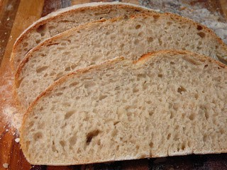 close up of sliced calabrese sourdough bread.