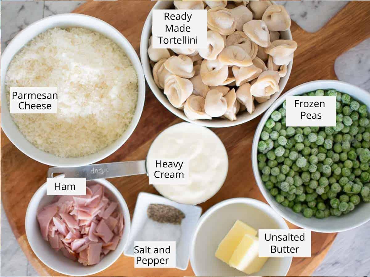 ingredient for tortellini alla panna as per recipe card.