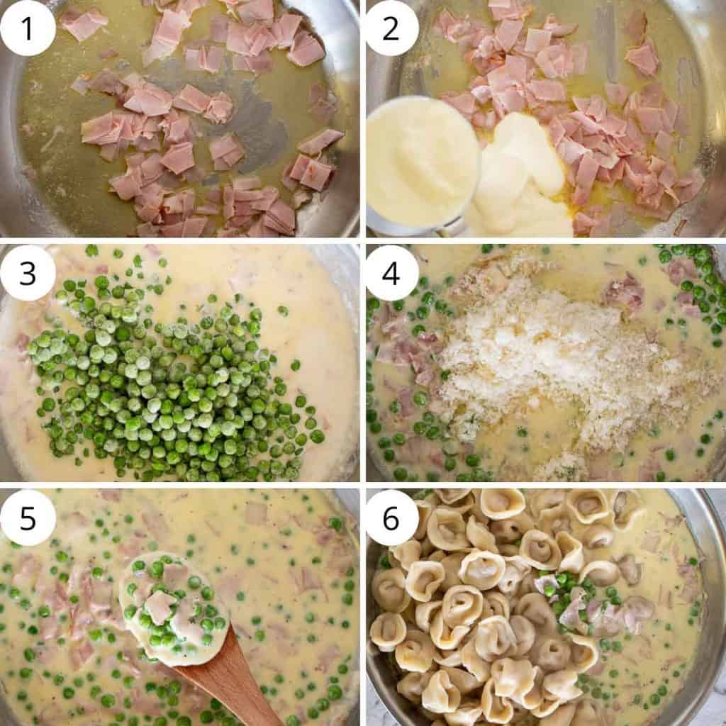 6 step photo collage showing how to make tortellini alla panna.