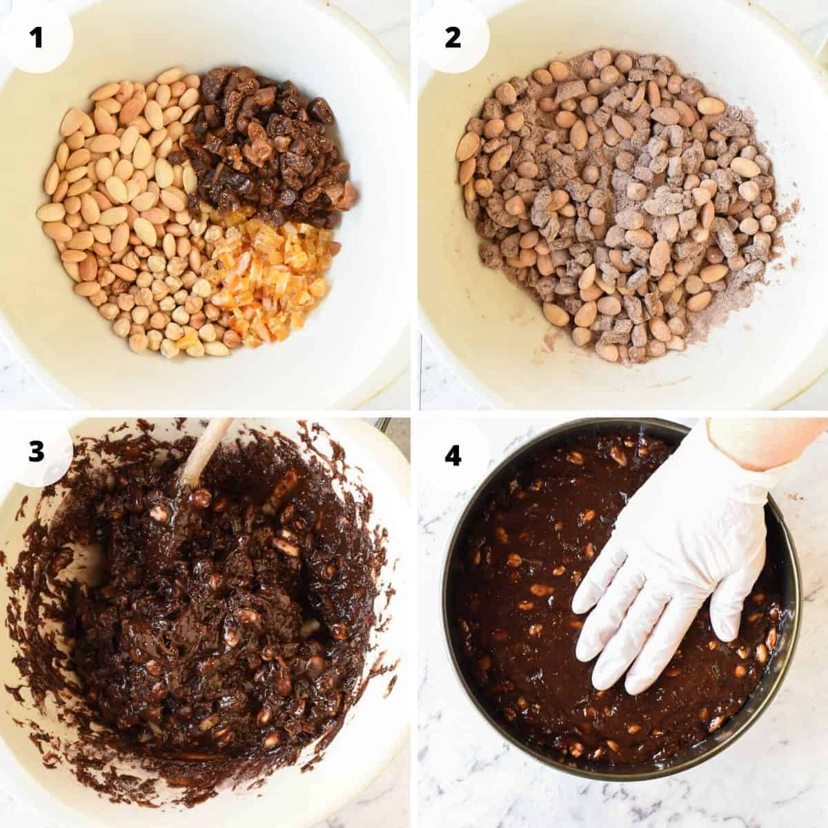 Four images of preparation of panforte - image 1 ingredients in a bowl, image 2 ingredients with added flour, image 3 gooey chocolatey mixture in a bowl image 4 a gloved hand press down on panforte in a cake pan