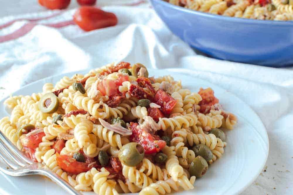 Italian pasta salad on white plate
