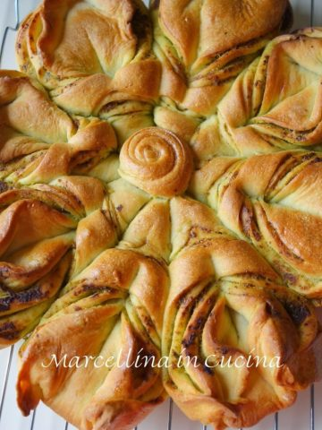 Flower bread viewed from above