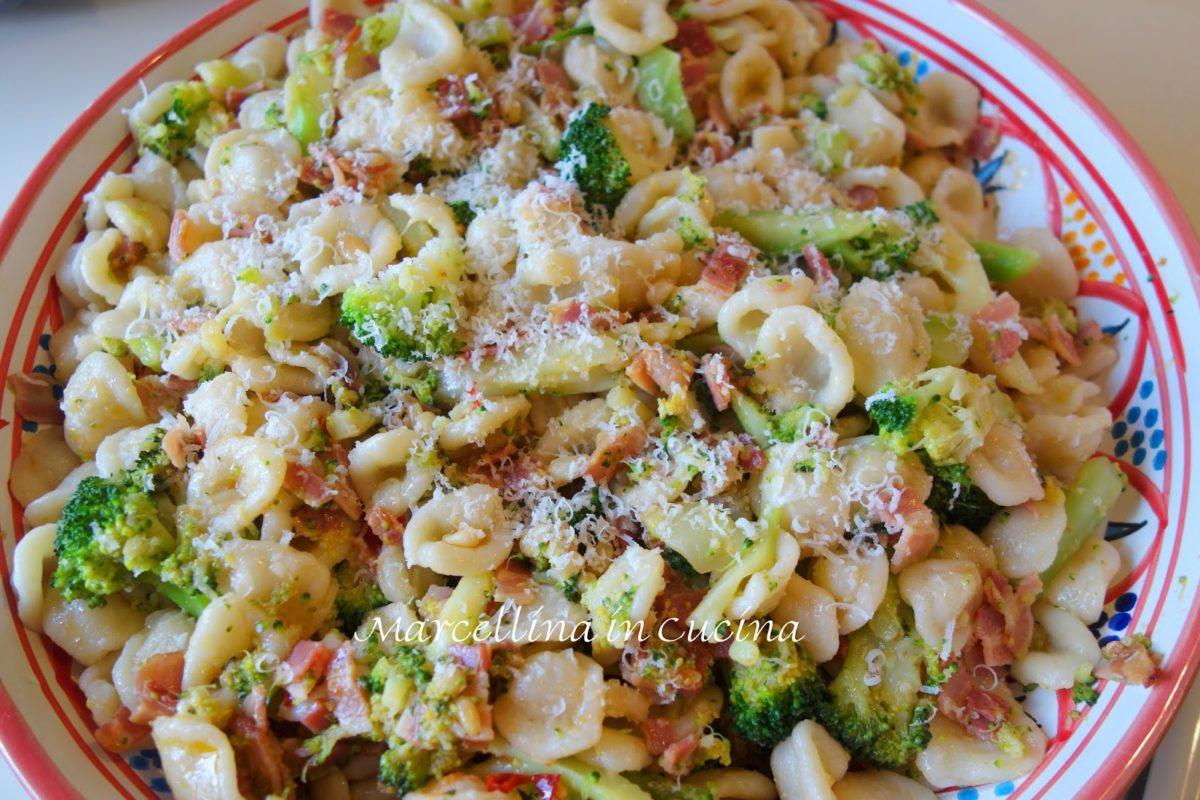 Homemade Orecchiette with Bacon and Broccoli