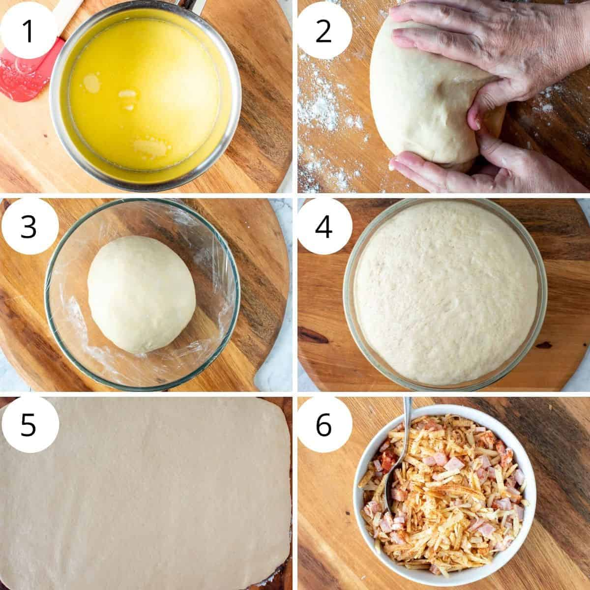 6 images numbered 1 to 6. Image 1 - melted butter and milk in saucepan. Image 2 - dough with hand kneading it. Image 3 - dough ball in glass bowl. Image 4 - risen dough ball in glass bowl. Image 5 - rolled out dough on wooden board. Image 6 - white bowl filled with cheese, bacon and smoked paprika