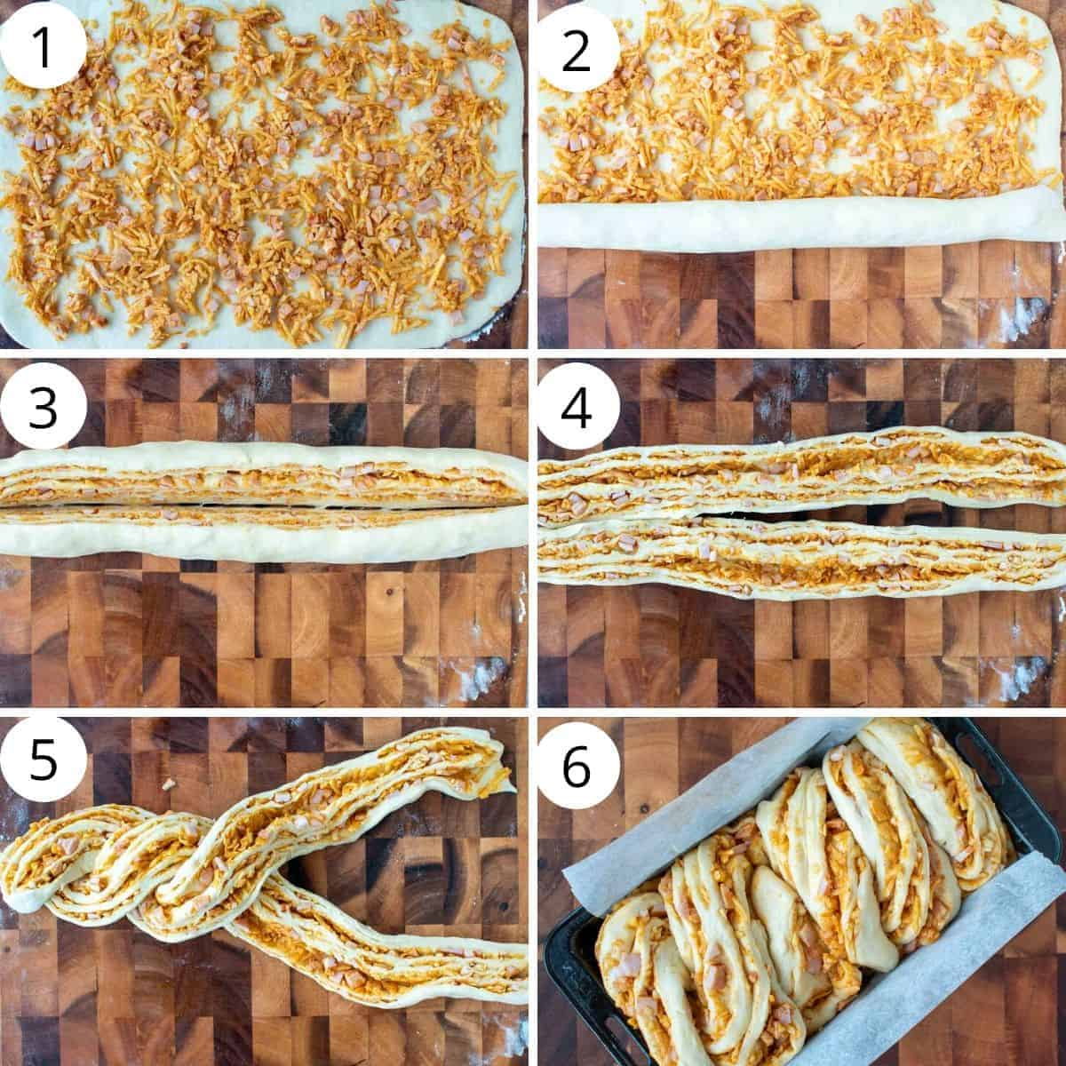 6 images numbered 1 to 6. Image 1 - dough with cheese and bacon sprinkled over. Image 2 - same dough half rolled up along long edge. Image 3 - rolled and filled dough rolled into a log and cut in half. Image 4 - two halves of rolled and filled dough. Image 5 - two halves of rolled and filled dough twisted together. Image 6 - twisted filled bread dough in black pan