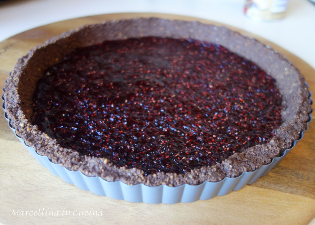 Raspberry Jam spread into the base of tart