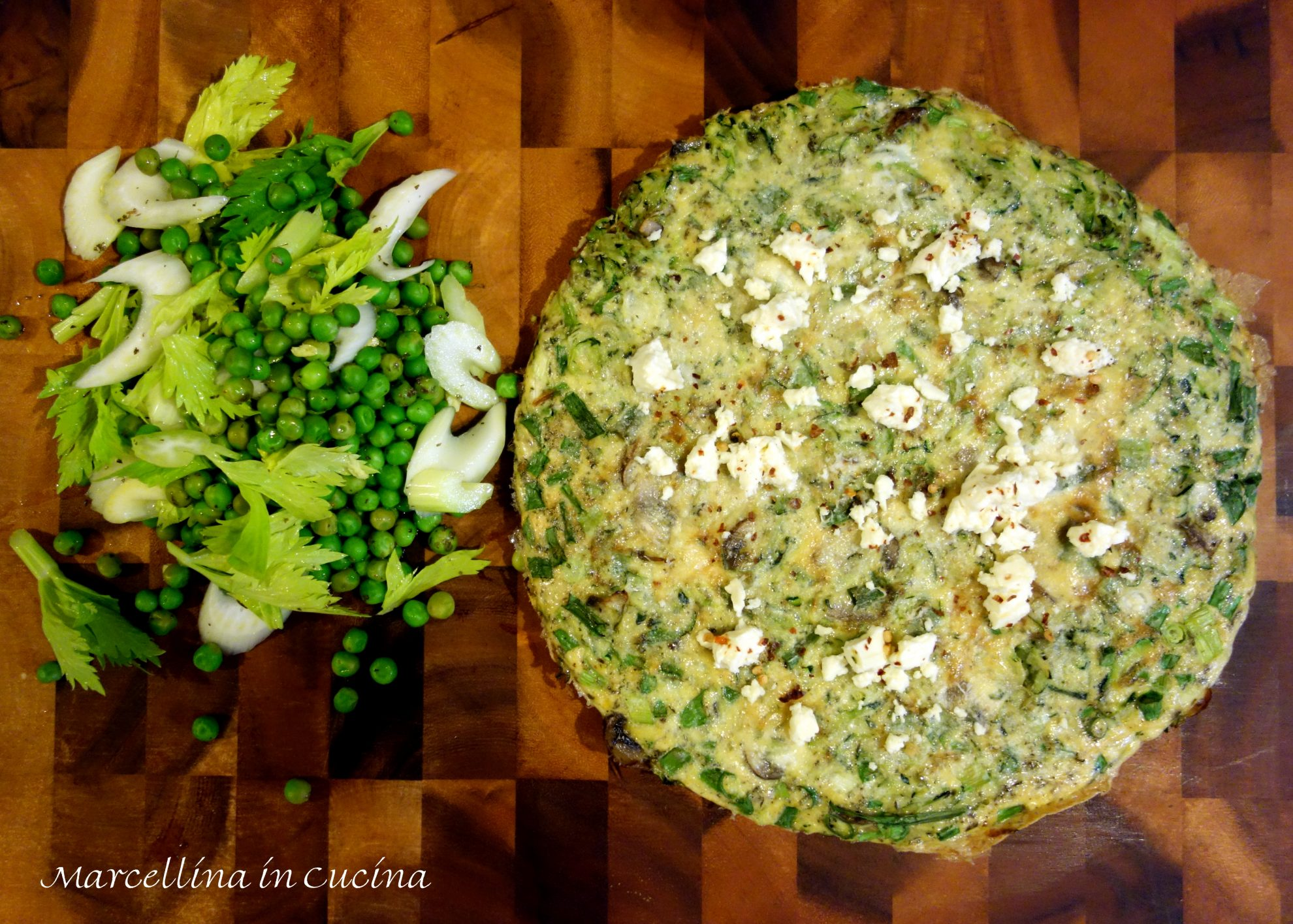 Zucchini Frittata with Pea and Celery Salad