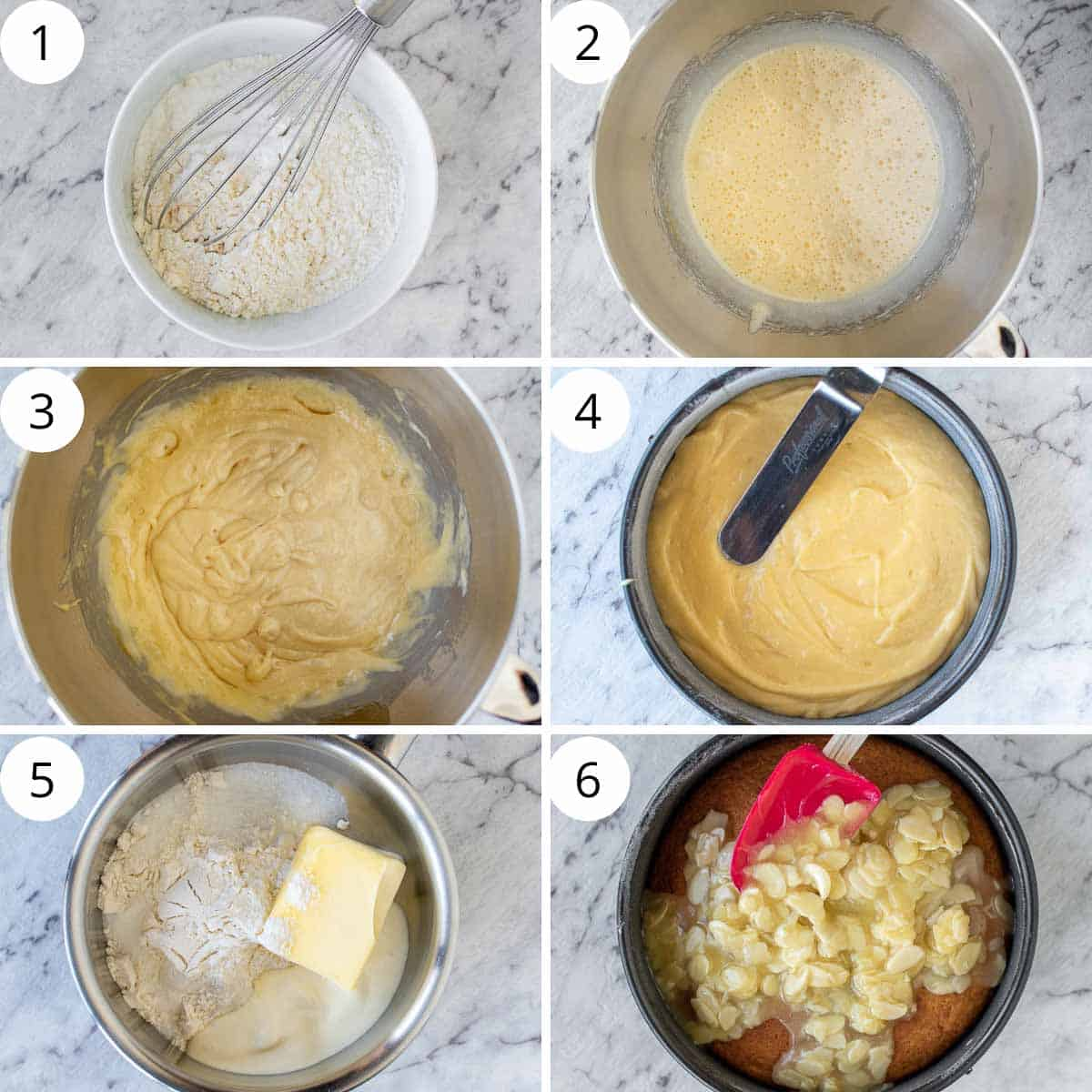 6 step photo collage showing how to make tosca cake