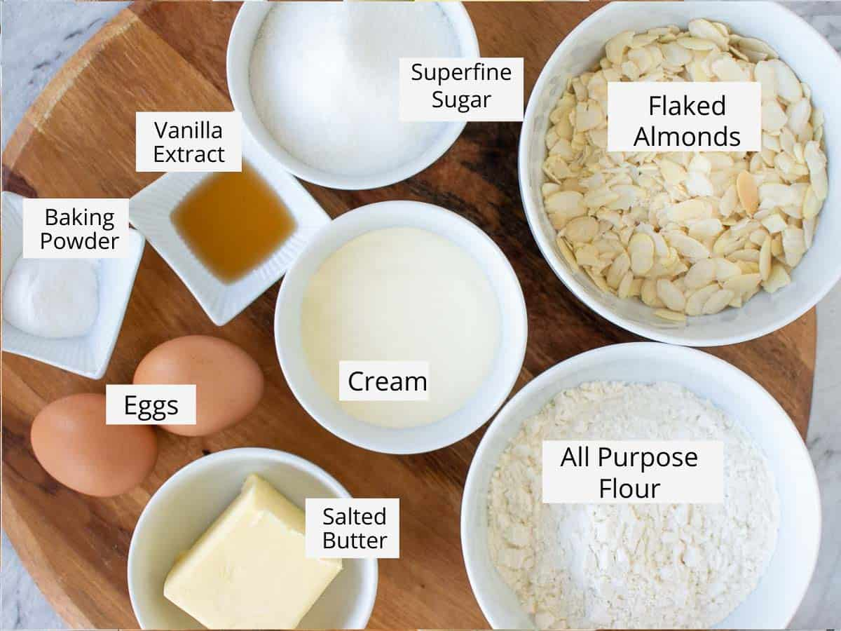 labelled ingredients for tosca cake viewed from above.
