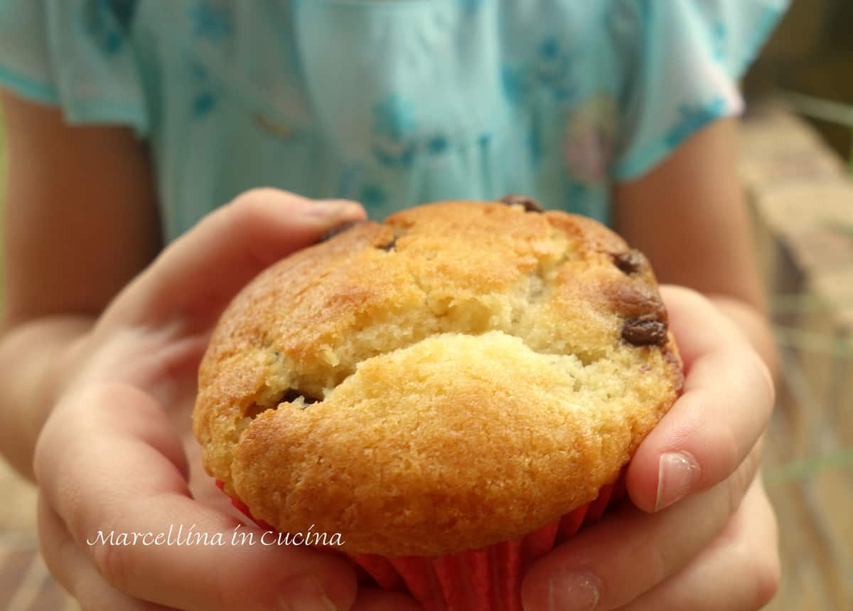 Chocolate chip Muffin in Childs hands