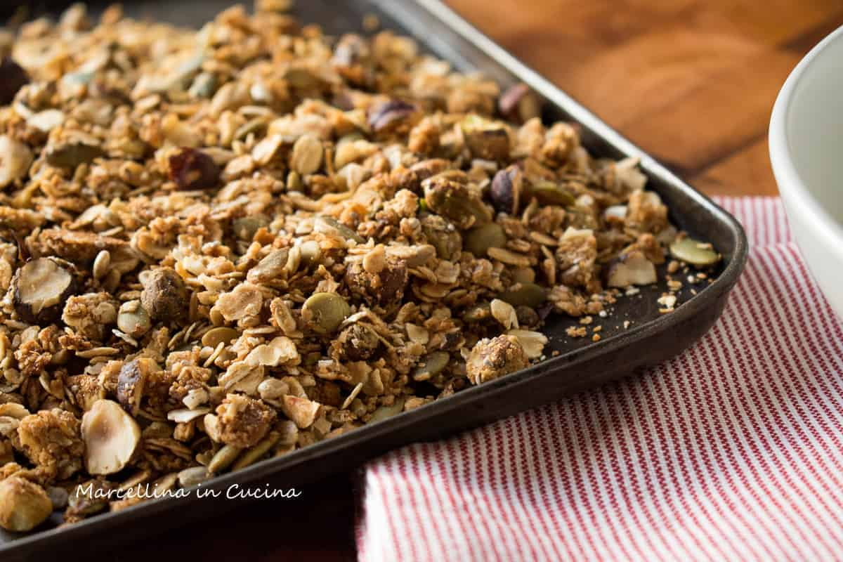 Tray of Granola with red and white cloth