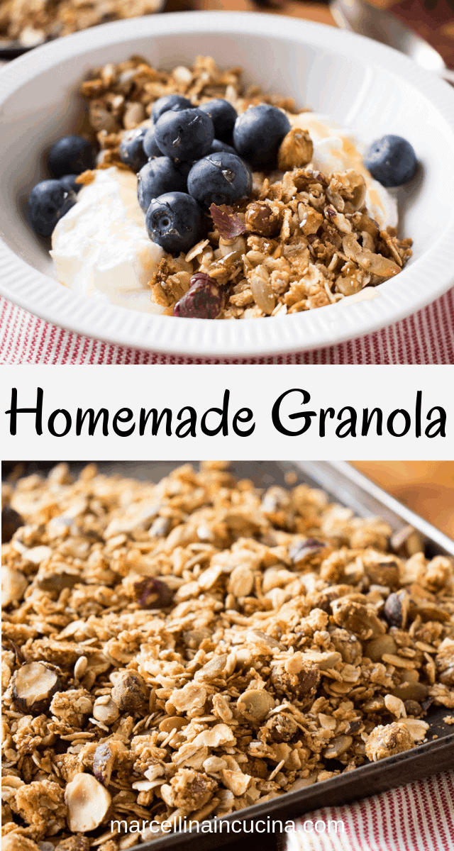 Two images with text in the middle. top image is White bowl of homemade granola with yogurt and blueberries, bottom image is Tray of Granola with red and white cloth
