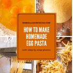 collage of four photos showing how to make pasta. text overlay reads 'how to make homemade egg pasta'