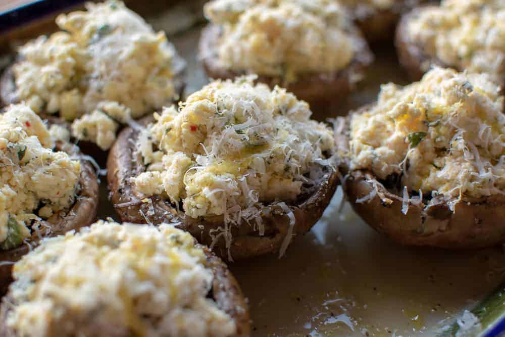 Baked Mushrooms stuffed with Ricotta ready for oven
