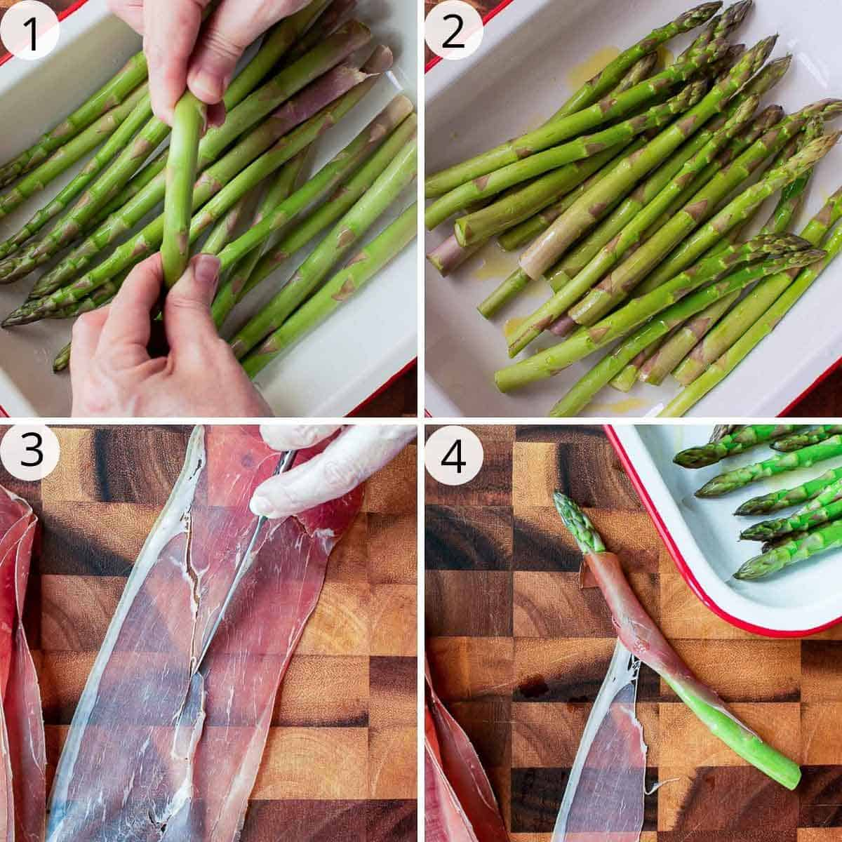 4-step photo collage showing preparation of asparagus wrapped in prosciutto.