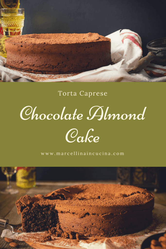 Two chocolate almond cake photos with text in the centre