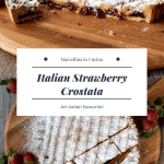 Strawberry crostata dusted with sugar