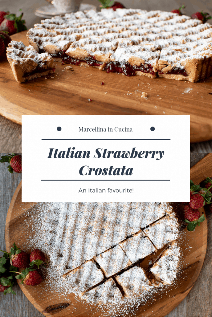 Strawberry crostata recipe dusted with sugar