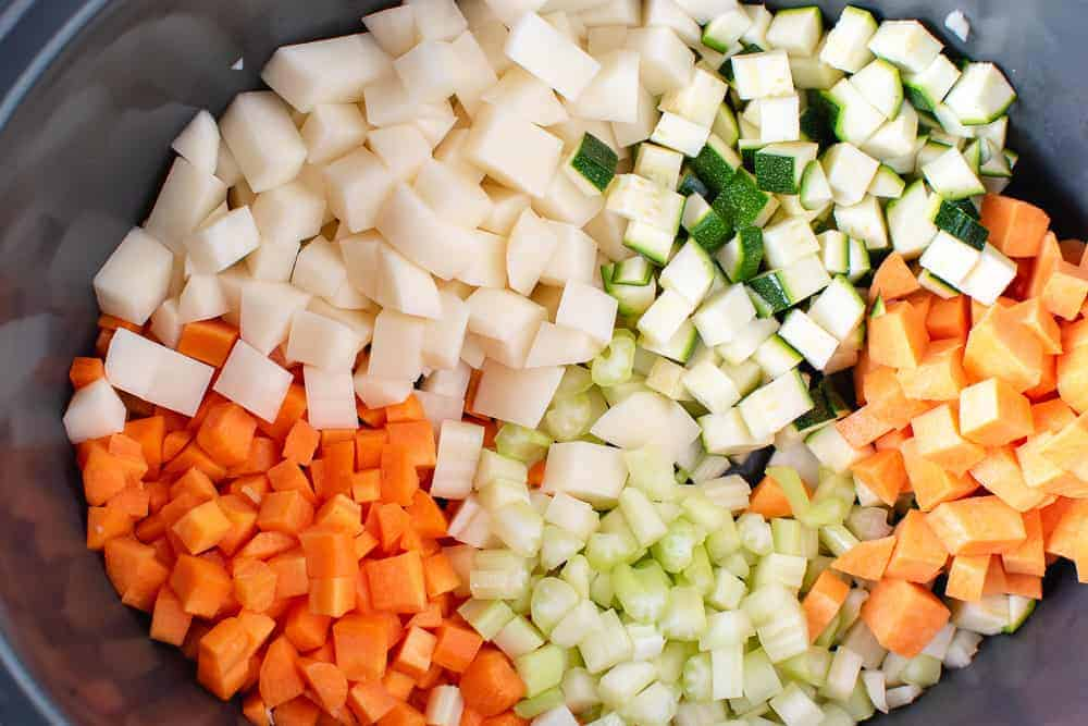 Diced potato, carrot, sweet potato, celery and zucchini