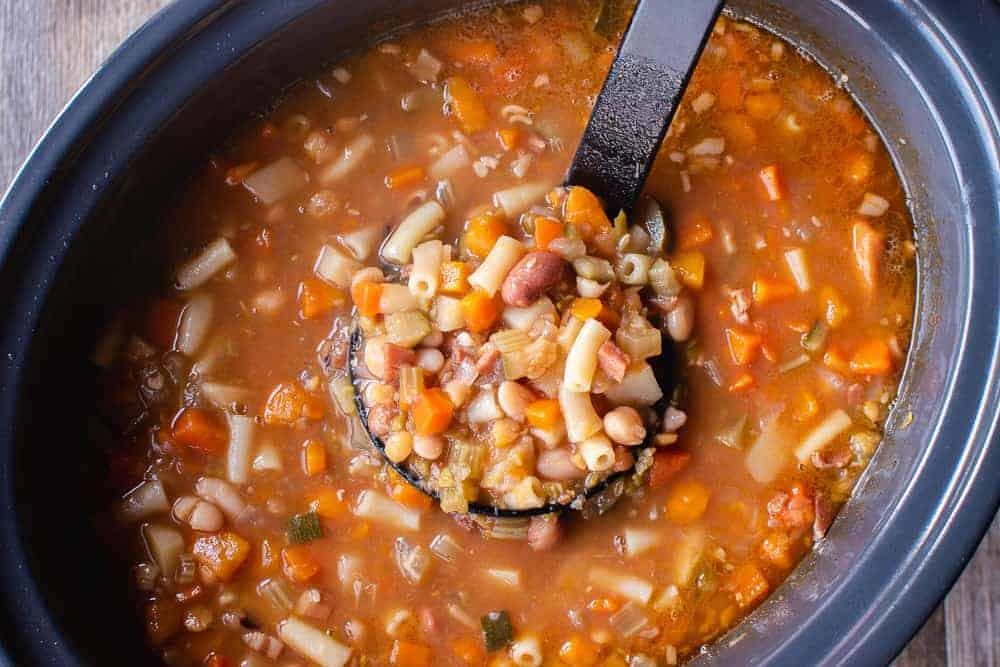 A ladleful of Slow cooker minestrone soup