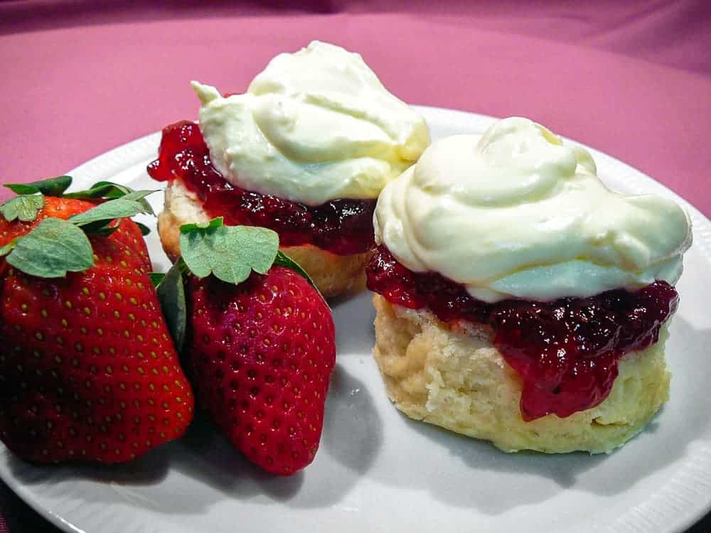 english scones recipe with jam and cream and strawberries