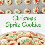 different varieties of spritz cookies ready for baking and decorated spritz cookies on white plate