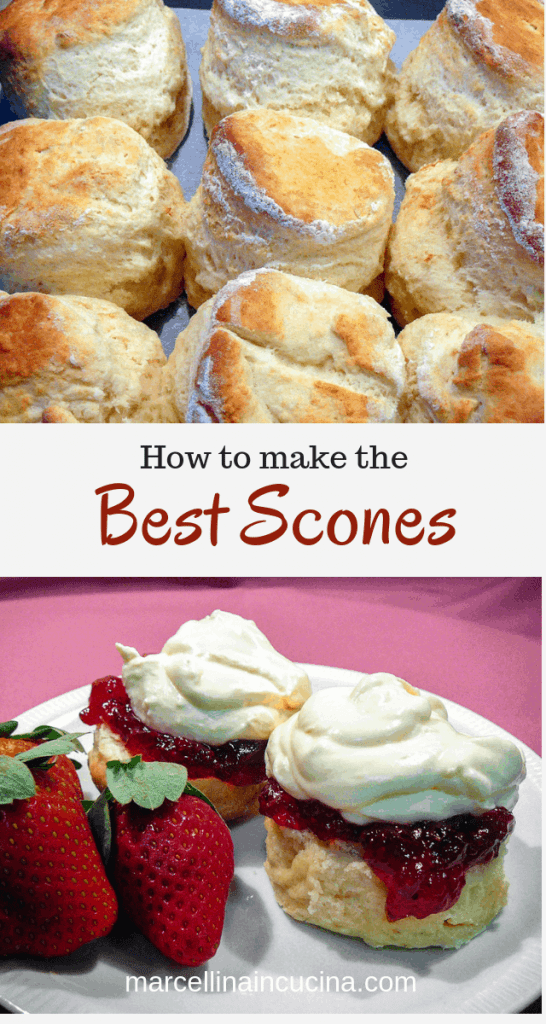 1st photo is fresh baked scones 2nd photo is scones with jam and cream and strawberries