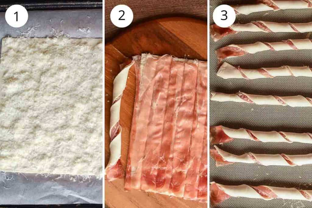 3-step photos showing how to make puff pastry twists