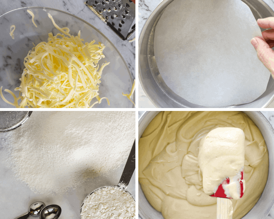 Collage of four images, grated butter, round cake pan with paper insert, sifted flour and cake batter in round cake pan
