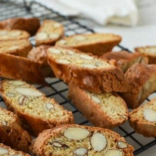 almond biscotti on black wire rack