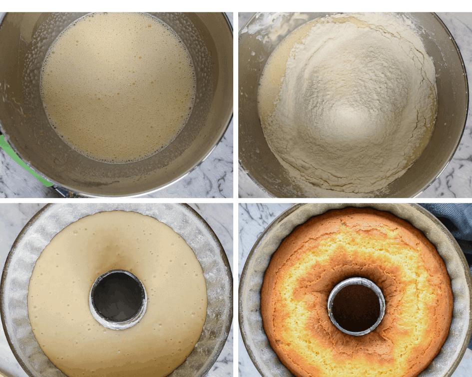Collage of preparations of lemon yogurt cake