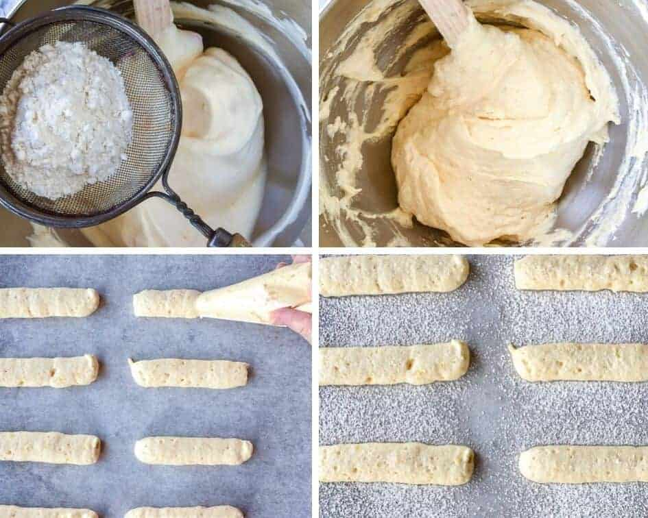 photo collage of step by step mixing the batter and piping of sponge fingers