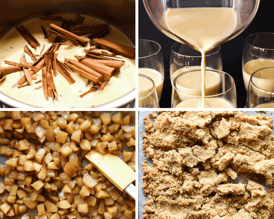 Photo collage of preparation of cinnamon panna cotta with apple crumble toppingn of