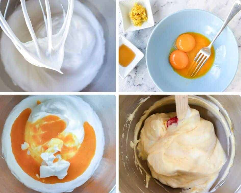 photo collage of step by step images of preparing the batter for sponge fingers