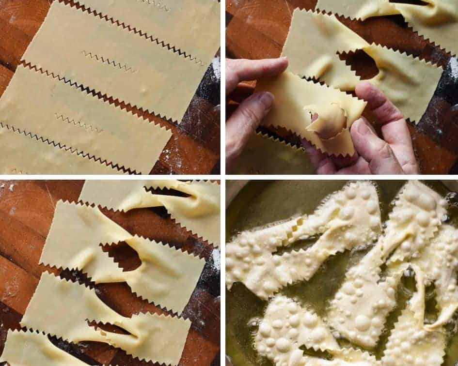 Four Photo collage of crostoli preparation