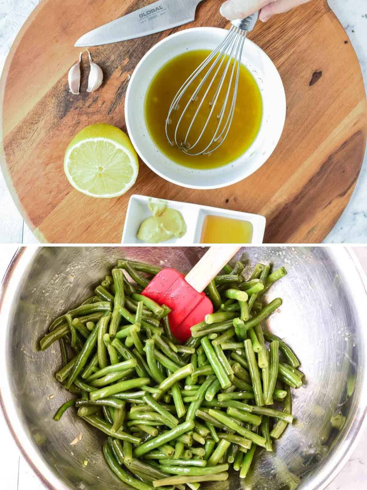 two images - top image white bowl on wooden board filled with salad dressing, half a lemon on the side and small white dish with honey and mustard; bottom image green beans and dressing in stainless steel bowl with red spatula