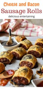 sausage rolls on baking paper with black sauce and red saucewith text above the image