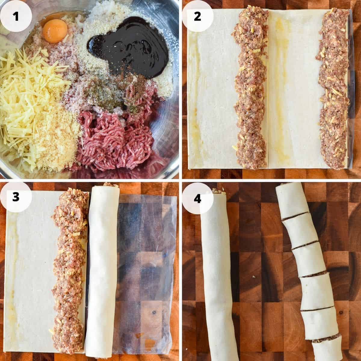 Four images in one. 1st image ingredients for sausage rolls in a bowl, 2nd image square of pastry with meat filling in two rows, 3rd image one cylinder of pastry and one ready to be rolled, 4th image one cylinder of pastry one cut into pieces