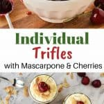 two images with text inbetween - top image is Cherry sauce in white bowl with cherries scattered around, spoonful of sauce beside bowl - bottom images is three glasses of creamy cherry dessert with cherries scattered around viewed from above