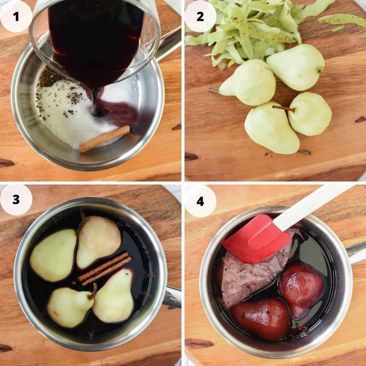 Photo collage of poached pear preparation