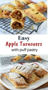 Two images with text inbetween - Top image is puff pastry apple turnovers on a black wire cooling rack with one turnover cut in half to reveal the inside. Bottom image is puff pastry apple turnovers on a white plate dusting with powdered sugar