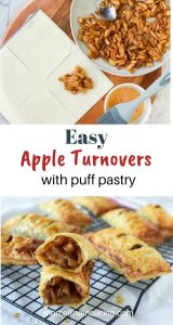 two images with text inbetween. Top image is a square of pastry, a black pan of cooked apples and a beaten egg in a bowl with a blue pastry brush resting across the bowl. Bottom image is puff pastry apple turnovers on a black wire cooling rack with one turnover cut in half to reveal the inside