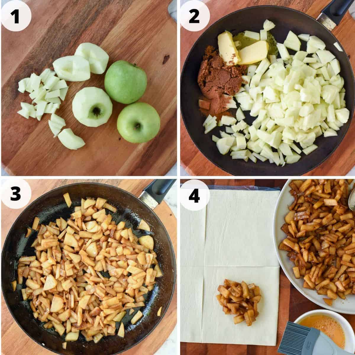 photo collage of preparation of apple turnovers. imade 1 is green apples whole and cut, image two is black pan with chopped apples, brown sugar and butter, image 3 is caramelised apples in black pan, image 4 is caramelised apples on a plate, square of dough and bowl with beaten egg