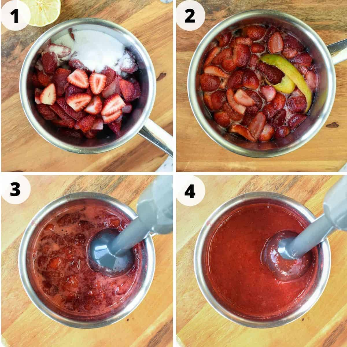 Four images showing the process of making strawberry sauce