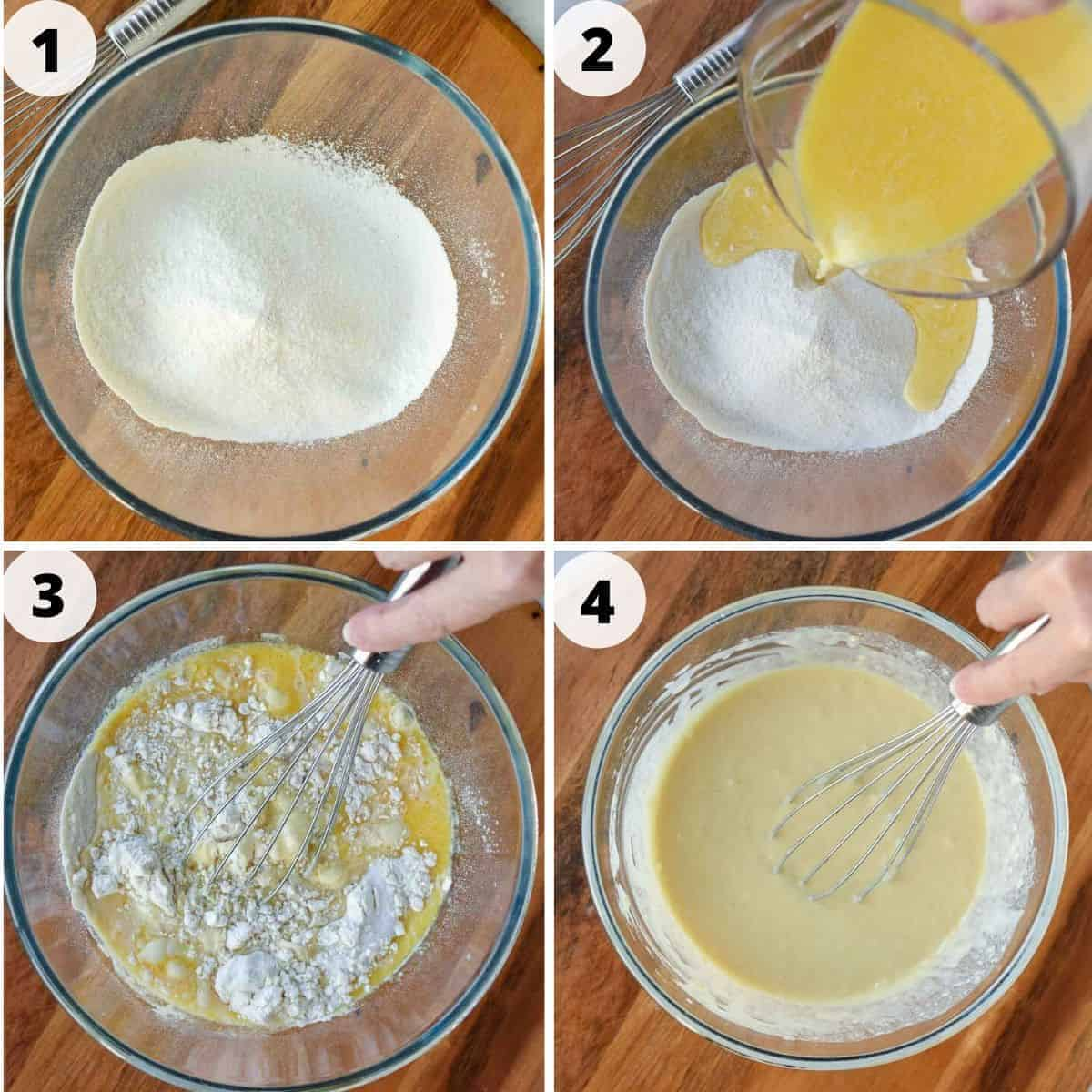 four images of making pancake batter