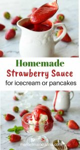 two images with text in between; top image is a spoon full of strawberry sauce being poured into a white jug full of more strawberry sauce; bottom image is glass bowl of vanilla ice cream with strawberry sauce on top; white jug in the background with a dribble of strawberry sauce on the jug