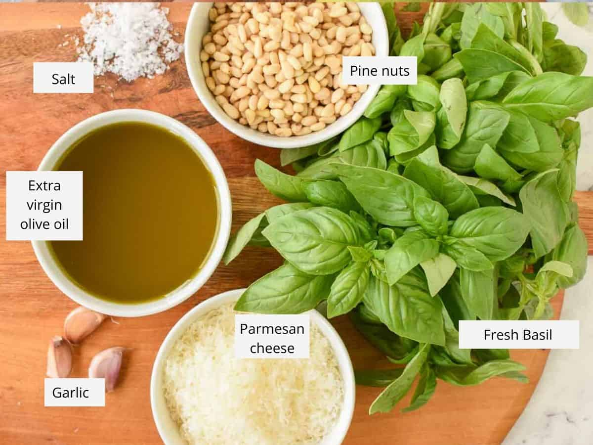 fresh basil, grated parmesan cheese, garlic cloves, olive oil, salt and pine nuts viewed from above with identification tags near each item.